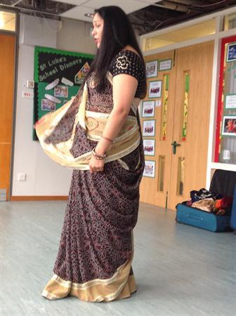 Sunita showing her beautiful sari.