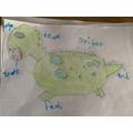 Wonderful drawing and imagination of a dinosaur!