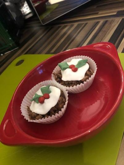 We made Christmas pudding treats for him