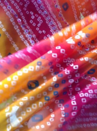 Sparkly pink and orange sari.