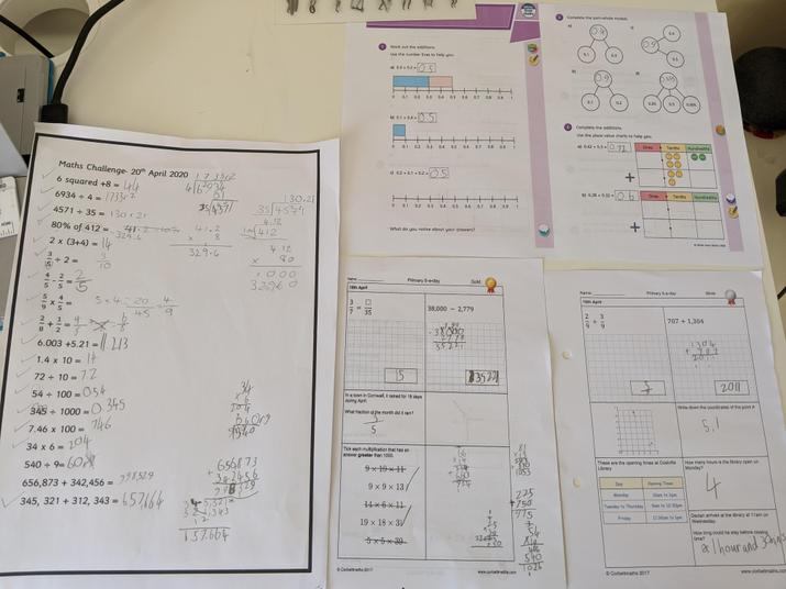 Lots of excellent Maths work