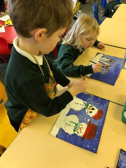 Making our Christmas cards.