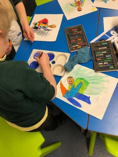 We used oil pastel and chalk pastels