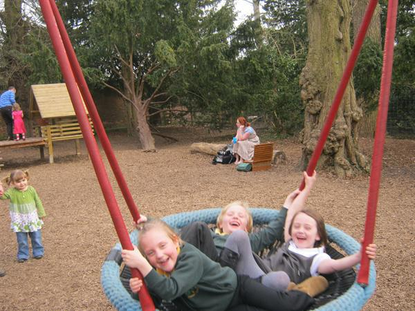 Having fun in the new playground at Clumber Park