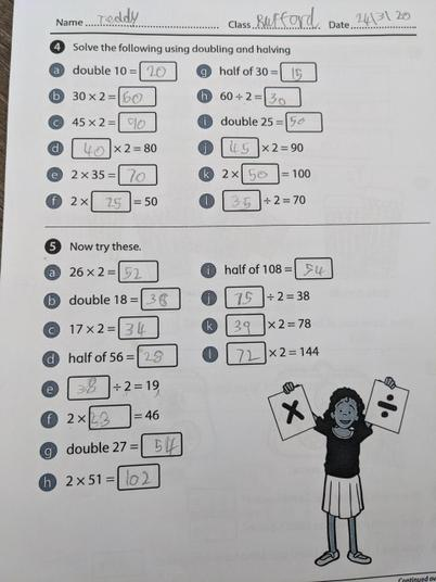 doubling and halving maths work