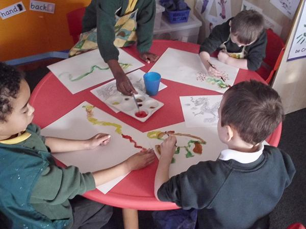 Painting chinese dragons