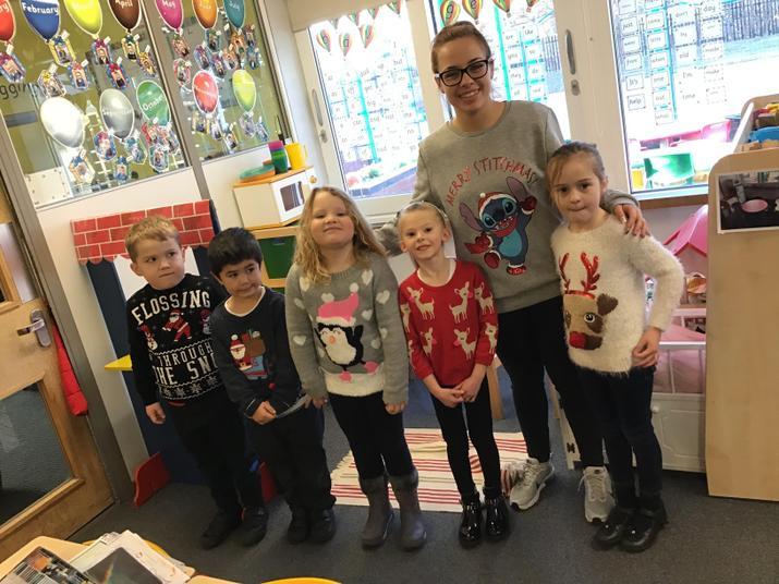 Christmas jumper day! Miss Denyer wears Stitch!