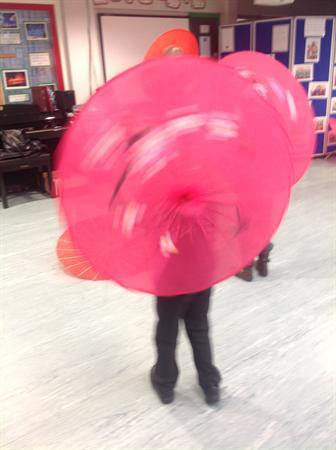 Spinning parasols!