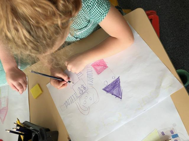 We used the shapes to create pictures of our houses