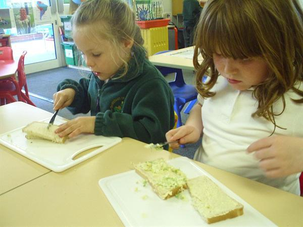 Making our egg and cress sandwiches