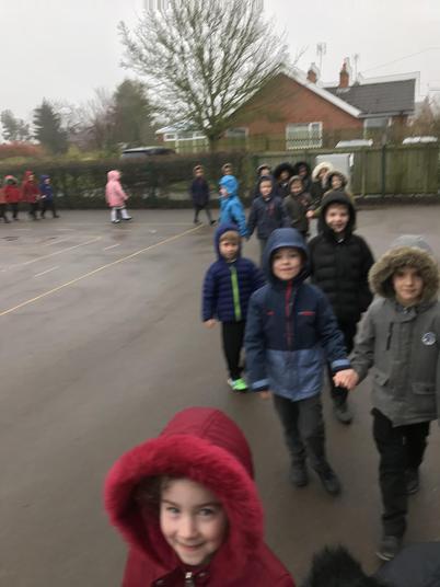 We walked around the playground 10 times.