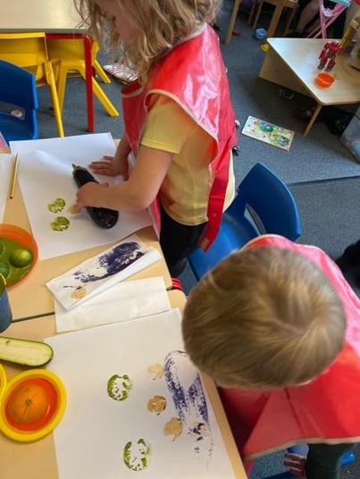 We used the fruit and veg to print the basic feature of a face