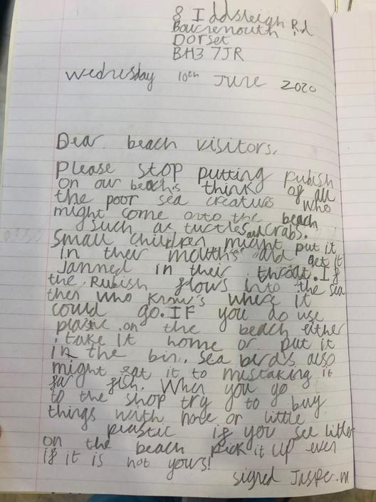 Have a read of Jasper's very emotive letter!
