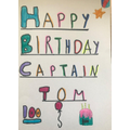 Grace made a card for Captain Tom