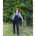 Mrs Mayhew dressed as a farmer for the day!