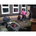 Preparing the garden for planting.