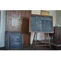 Blackboards and chalk.