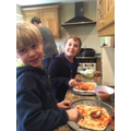 Sam and his brother making pizzas