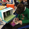 Busy making a Shoe Box Theatre on Elf Day
