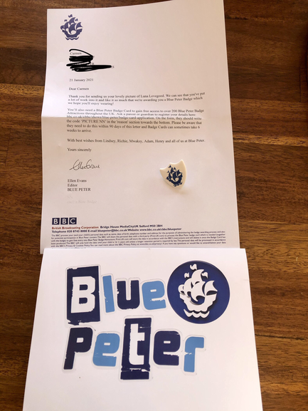 Carmen has won a Blue Peter Badge