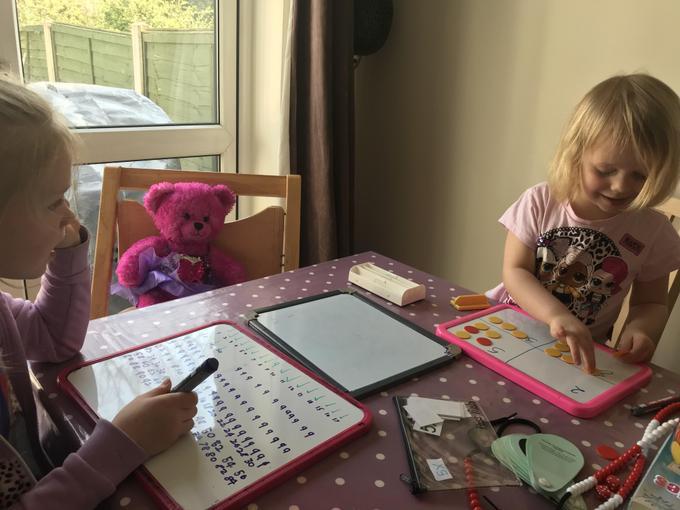 Harriet practising her counting skills