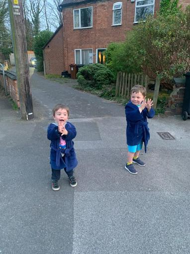 Jensen and his brother clapping for the NHS