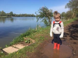 Bethany splashing in muddy puddles!