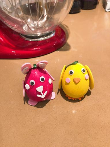 Amelia and Iyla have decorated eggs