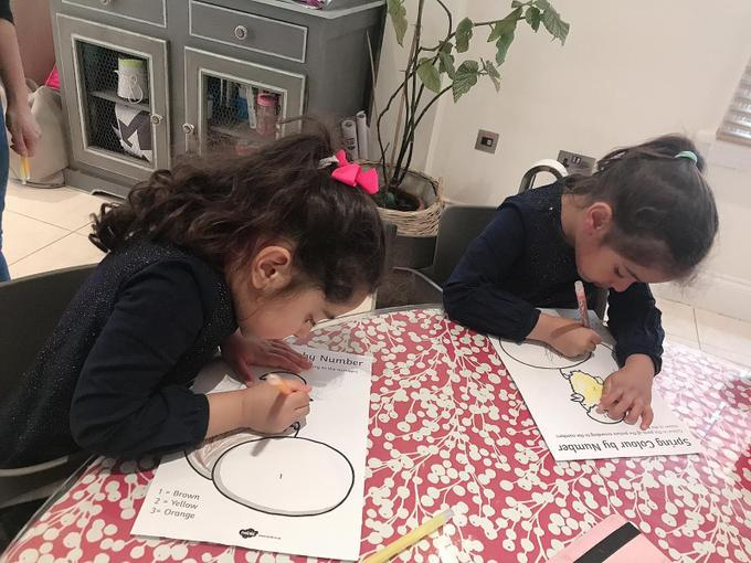 Iyla and Amelia colouring by number