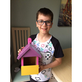 Elijah's been paining a birdhouse
