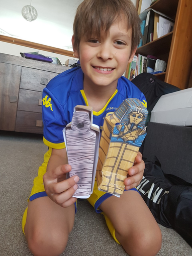 Lucas has been making Egyptian tombs.