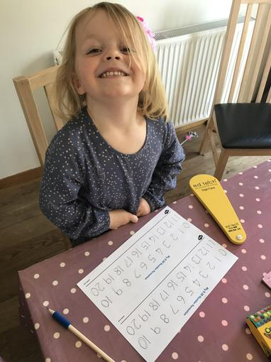 Harriet working hard on her number formation