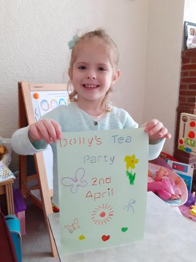 Chloe made a sign for her tea party!