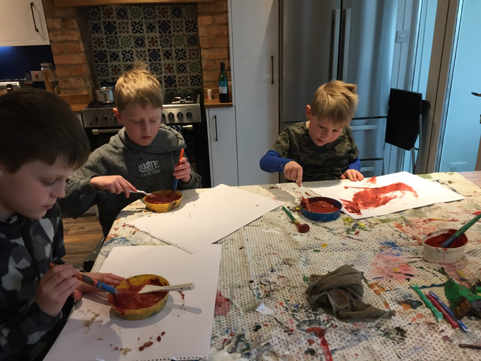 A family art session.