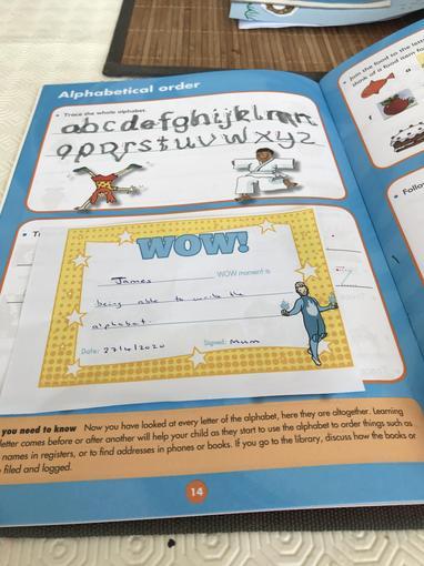 Wow! James has written the alphabet
