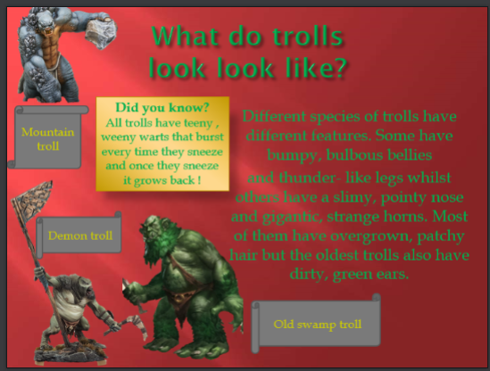 Asher's very informative powerpoint about Trolls.