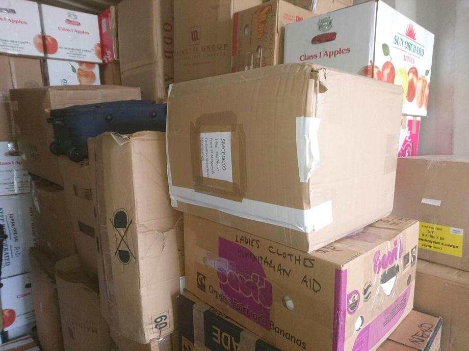 Some of our boxes in the container.
