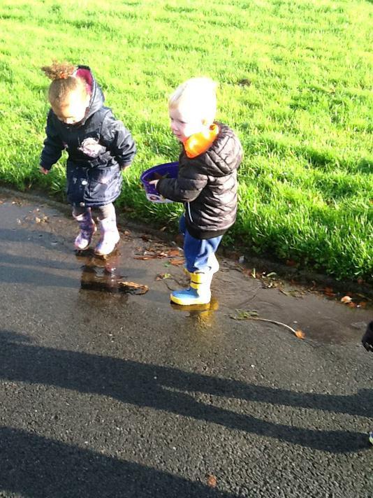 We had fun splashing in puddles!