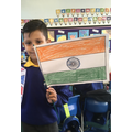We made the Tiranga which is the Indian flag.