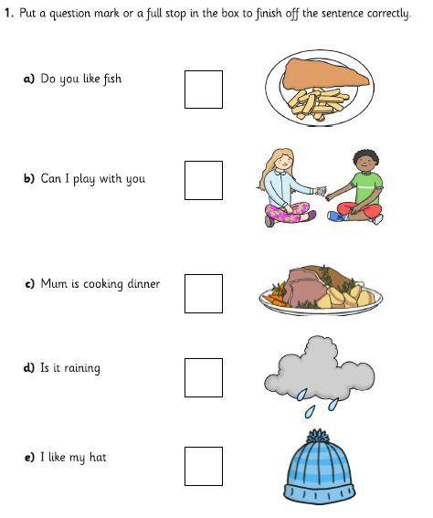 Re-write the sentences and add a full stop or capital letter.