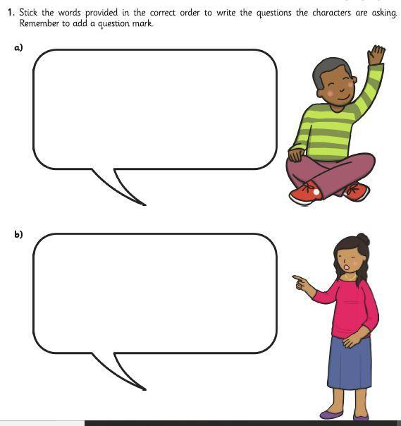 Unjumble the words and write the questions.  Don't forget the question marks.