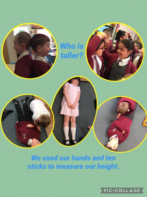 We've been learning about measuring this week. We began by looking at non standard units o