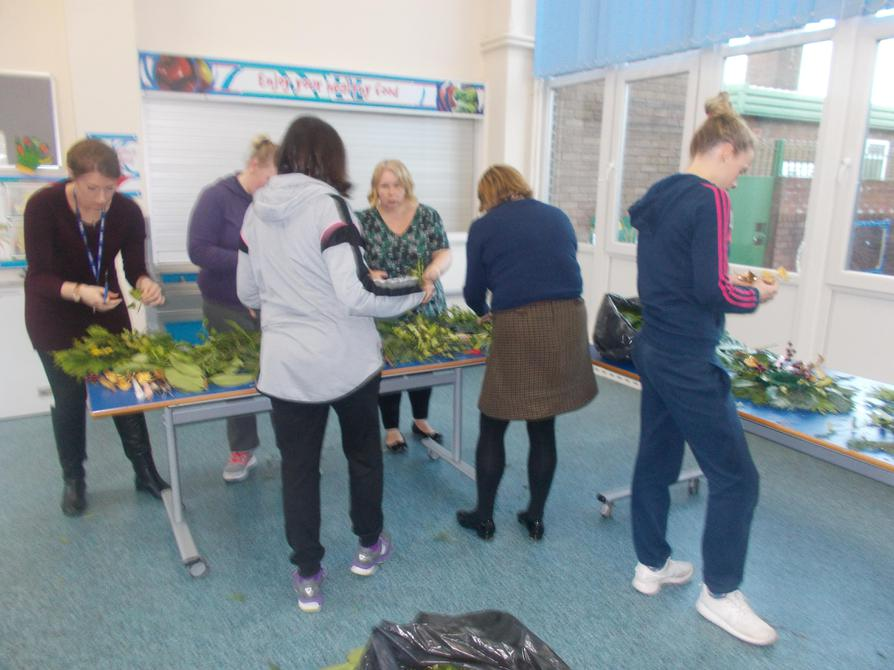 Staff busy making the wreaths.