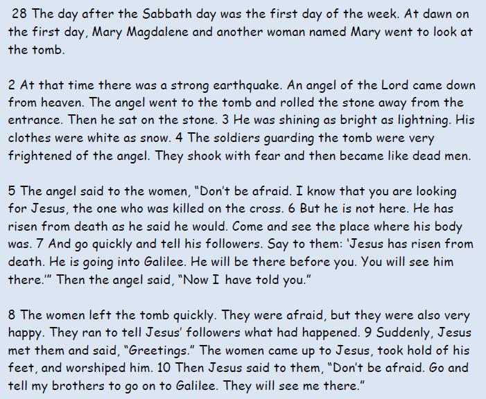 Read Matthew 28: 1-10
