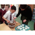 Scooping up the mixture