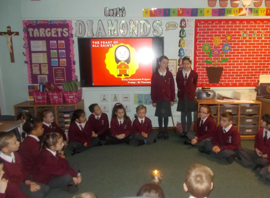 Our Class Prayers Leaders led us today.
