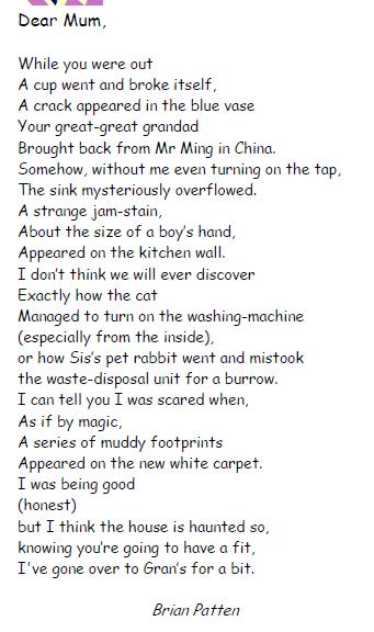 Dear Mum poem