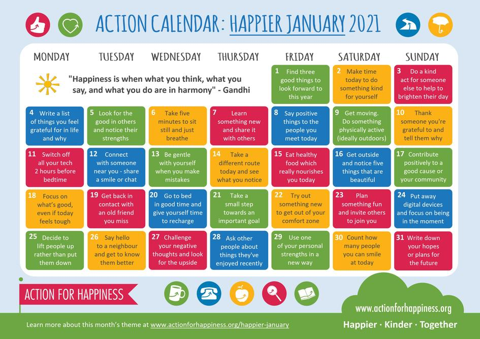 January wellbeing calendar