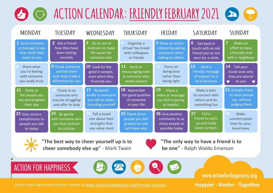 February wellbeing calendar