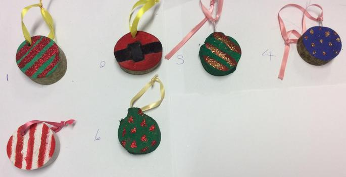 Patterned Hanging Christmas Tree Decorations - 50p each